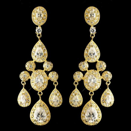 Elegance By Carbonneau Gold Plated Cz Teardrop Wedding Earrings