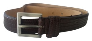 BCBGMAXAZRIA Brown Alligator Belt Small