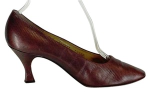 Bruno Magli Bronze Leather Faux Snakeskin Classic Made In Italy Gold Leather Lined Bronze Metallic Pumps