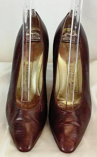 Bruno Magli Classic Made In Italy Gold Leather Lined Leather Faux Snakeskin Bronze Metallic Pumps