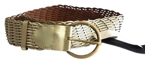 BCBGMAXAZRIA Gold Weave Wide Belt