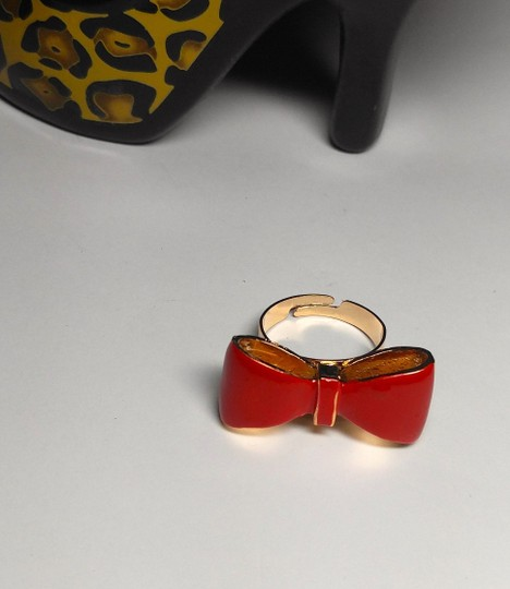Other New Adjustable Size Gold Red Bow Statement Ring Chunky J1976