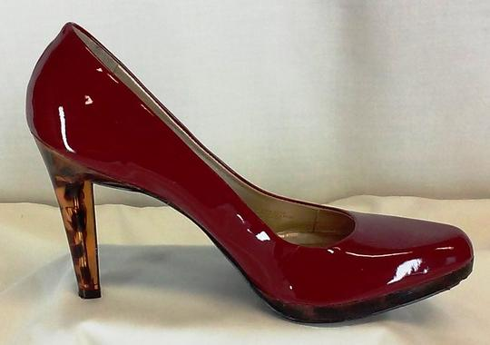 Jessica Simpson Leather Made In Brazil Gold-lined Lucite Lucite Red Patent W/Leopard Heel Platforms