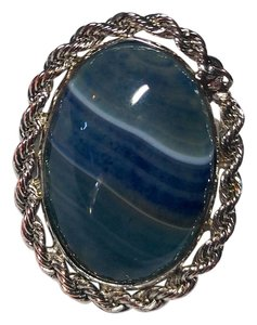 Other Blue Agate Gemstone Adjustable Size Ring R081