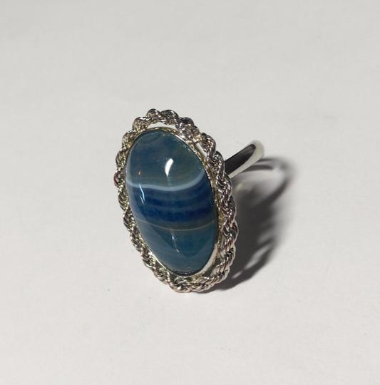 Other Blue Agate Gemstone Adjustable Size Ring A131
