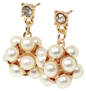 Other New Faux Pearl Dangle Earrings 2 in. White Gold Tone J1980