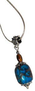 Other Sterling Silver Necklace W/ Crazy Agate Tiger's Eye Stone Pendant N189