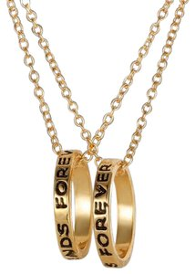 Other 2 Piece Best Friends Charm Necklaces Gold Tone Rings J1981