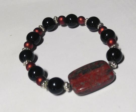 Other 2 Piece Brown Gemstone & Wood Bracelets A129