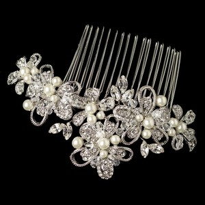 Elegance By Carbonneau Diamond White Pearl And Crystal Rhodium Wedding Comb
