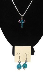 Other Sterling Silver Cross Necklace W/ Mother Of Pearl Center & Matching Earrings N190