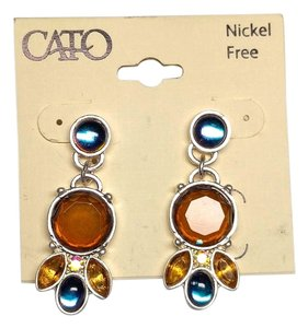 Cato Cato Bib Earrings Blue Orange Yellow 3 In. Long J1986