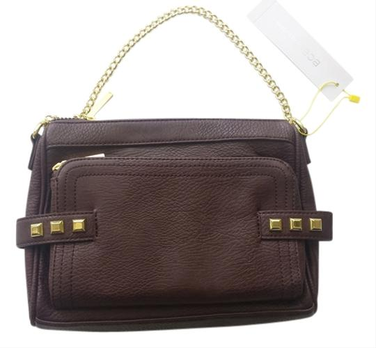 Preload https://item5.tradesy.com/images/bcbgmaxazria-gold-handbag-brown-vegan-leather-clutch-11985124-0-1.jpg?width=440&height=440
