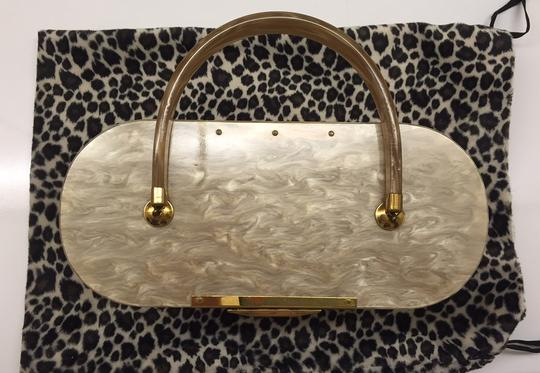 Majestic Vintage Bakelite Evening Satchel in Champagne