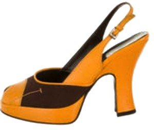 Prada Canvas Yellow/Brown Pumps