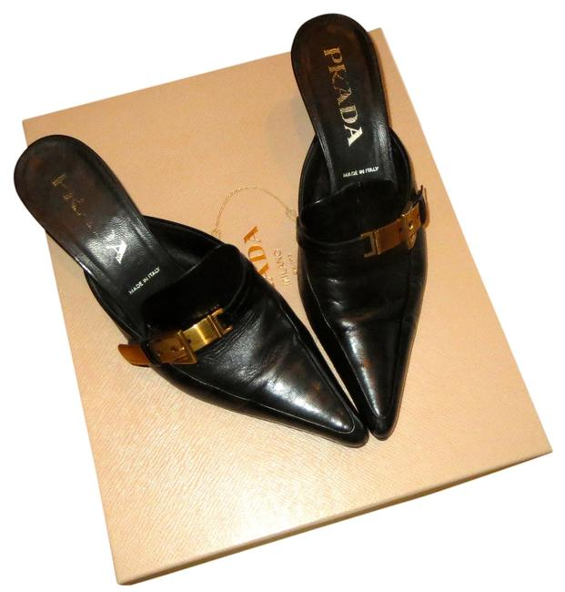 Item - Black Leather Gold Buckle Heel Italian Pointed Toe Formal Shoes Size US 6 Narrow (Aa, N)