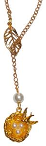 Other New Bird Nest Eggs Drop Pendant Necklace Gold Tone Leaf Charm J1990