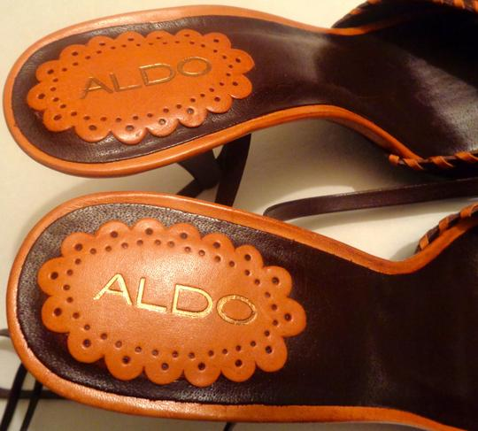 ALDO Leather Wooden Beads Made In Brazil Strappy Ankle Wraps All-leather Brown, Orange Sandals