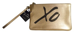 Banana Republic Leather Wristlet in gold & black
