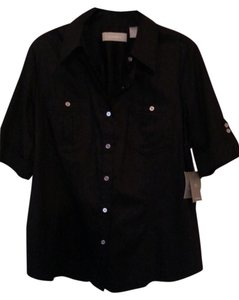 Liz Claiborne Nwt Shirt Button Down Shirt Black / Large