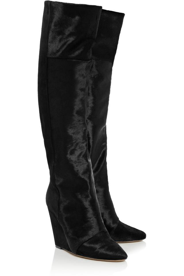 be5f8935788 Isabel Marant Black Sheila Pony and Suede Knee High Boots Booties ...