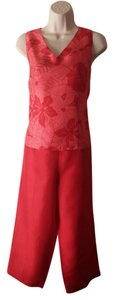 Robbie Bee Robbie Bee Silk Shantung Red Sleeveless Top & Cropped Pant Set Size 10