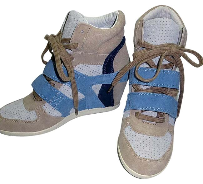 Item - Sand; Sky Blue Bea Suede Wedge Heel Boxing Trainers Sneakers Size US 8 Regular (M, B)