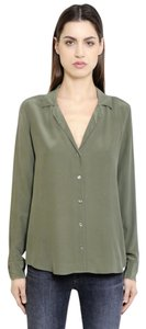 Equipment Silk Button Down Adalyn Pajama Collar Top Dusty Olive