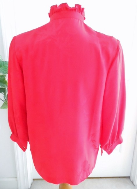Unknown Silk Ruffle Color Vintage Mandarin Collar Top red