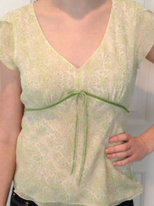 Ann Taylor Top Green/Pink/White Floral