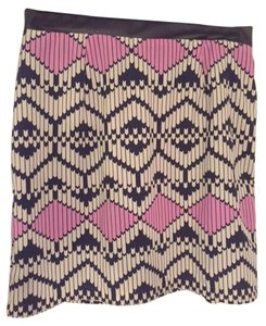 Lush Pattern Mini Skirt White, Navy, Pink