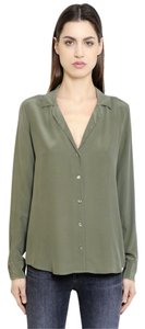 Equipment Silk Button Down Top Dusty Olive