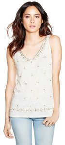 White House | Black Market Embellished Studs Linen Top White