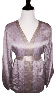 Badgley Mischka Silk Kimono Top Lavender and Gold