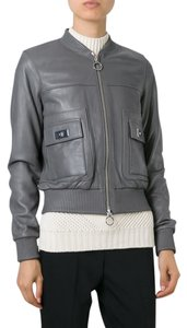Michael Kors Leather Lambskin Bomber Grey Leather Jacket