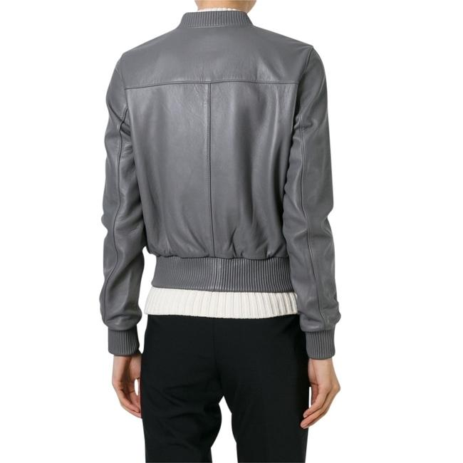 Michael Kors Lambskin Bomber Grey Leather Jacket