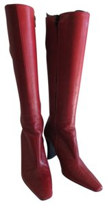 Vintage Leather Knee High Red Boots