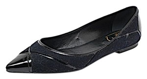 Roger Vivier Felted Black Patent Leather Flats