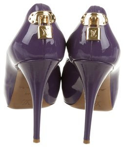 Louis Vuitton Peep Toe Gold Hardware Lv Lock Faux Patent Oh Really! Purple Pumps