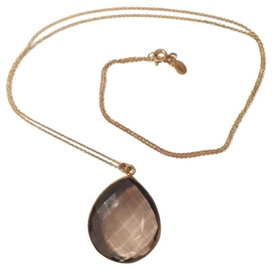 Preload https://img-static.tradesy.com/item/11990074/clear-brown-faceted-tear-drop-glass-stone-necklace-0-1-540-540.jpg