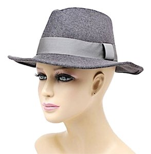 Mandana MANDANA Charcoal Wool Felt FEDORA Hat w/Elastic Band - WONDERFUL - O/S - Mint