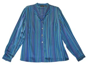 Liz Claiborne Silk Charmeuse Shiny Stripes Top Blue