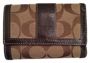 Coach Coach Signature C Fabric Leather Trim Trifold Wallet