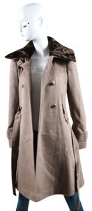 Tahari Wool Blend Faux Fur Double Breasted Belted Coat