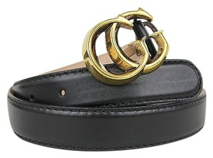 Gucci Gucci Leather Belt With Sculpted Gg Buckle 80/32 Black 245894 1000