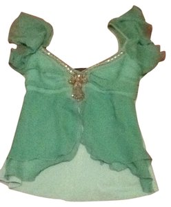 Arden B Bling Rhinestone Embellished Top Mint Green