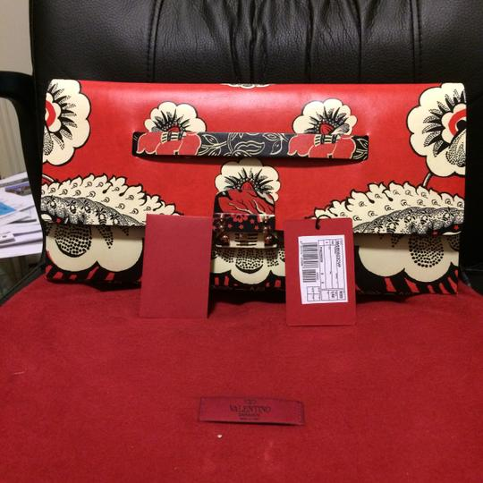 Valentino red floral print Clutch