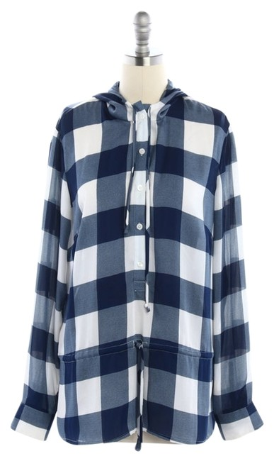 Preload https://item3.tradesy.com/images/michael-michael-kors-blue-white-and-checker-print-with-hood-button-down-top-size-8-m-11991277-0-1.jpg?width=400&height=650