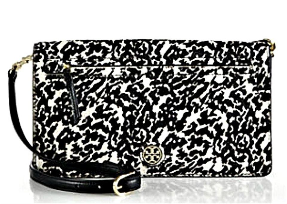 2b7617656 Tory Burch Brody Shoulder Clutch Black White Calf Hair Leather Cross Body  Bag