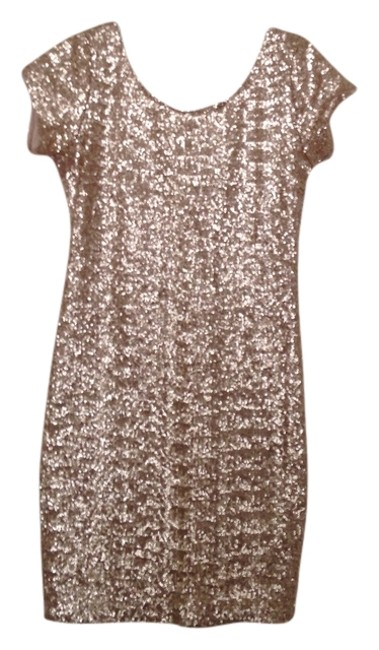 Item - Gold Sequins Above Knee Night Out Dress Size 8 (M)